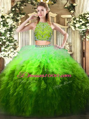 Luxury Multi-color Zipper High-neck Beading and Ruffles Sweet 16 Quinceanera Dress Tulle Sleeveless