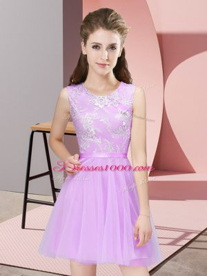 Custom Designed Lilac A-line Scoop Sleeveless Tulle Mini Length Side Zipper Lace Quinceanera Court of Honor Dress