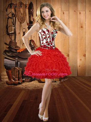 Dynamic Red Lace Up Sweetheart Embroidery and Ruffles Prom Dresses Organza Sleeveless
