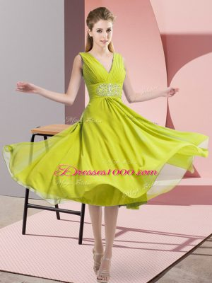 Customized Knee Length Side Zipper Bridesmaids Dress Yellow Green for Prom and Party and Wedding Party with Beading