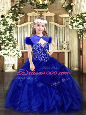 Best Royal Blue Straps Lace Up Beading and Ruffles Little Girls Pageant Dress Sleeveless