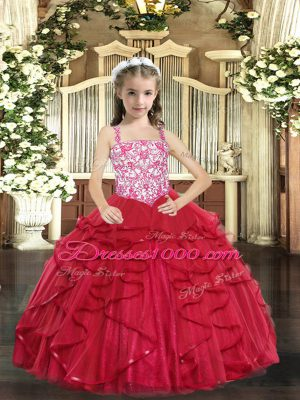 Coral Red Sleeveless Floor Length Beading and Ruffles Lace Up Girls Pageant Dresses