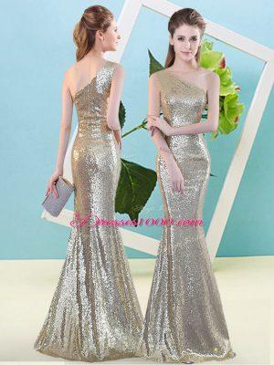 Champagne Zipper One Shoulder Sequins Evening Dress Sequined Sleeveless