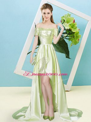 Yellow Green Elastic Woven Satin and Sequined Lace Up Off The Shoulder Short Sleeves High Low Prom Evening Gown Sequins