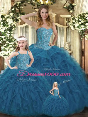 Best Selling Teal Ball Gowns Sweetheart Sleeveless Organza Floor Length Lace Up Beading and Ruffles Quinceanera Dress