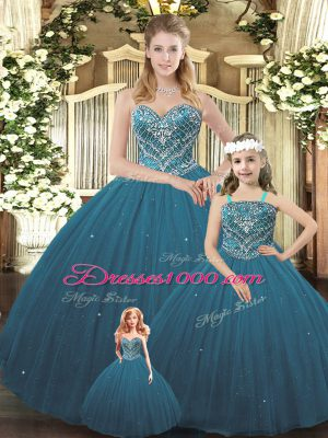 Teal Tulle Lace Up Sweetheart Sleeveless Floor Length Sweet 16 Quinceanera Dress Beading