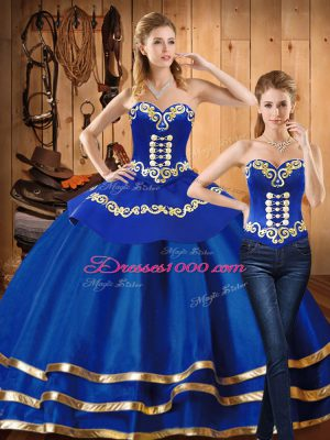 Popular Sweetheart Long Sleeves Lace Up Quinceanera Dress Blue Satin and Tulle