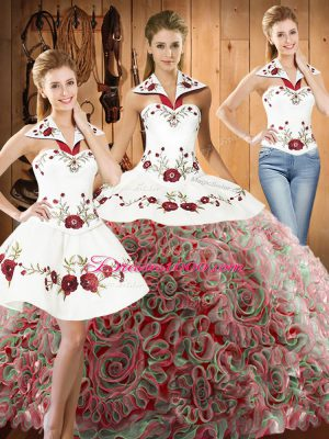 Sleeveless Embroidery Lace Up 15 Quinceanera Dress with Multi-color Sweep Train