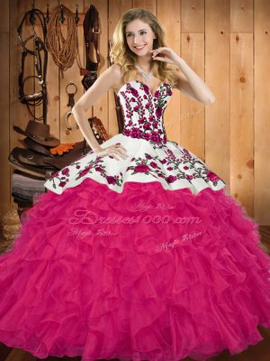 Hot Pink Ball Gowns Sweetheart Sleeveless Tulle Floor Length Lace Up Embroidery and Ruffles Quinceanera Dresses