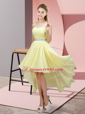 Ideal High Low Yellow Bridesmaid Dresses Sweetheart Sleeveless Lace Up