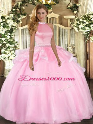 Fantastic Pink Tulle Backless Quinceanera Dress Sleeveless Floor Length Beading and Ruffles
