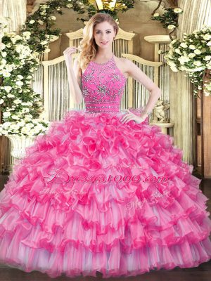 Hot Pink Tulle Zipper Quince Ball Gowns Sleeveless Floor Length Beading and Ruffled Layers