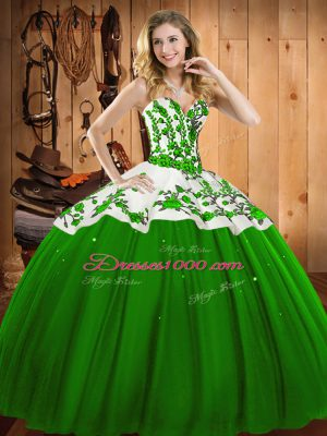 Green Satin and Tulle Lace Up Sweetheart Sleeveless Floor Length 15th Birthday Dress Appliques and Embroidery