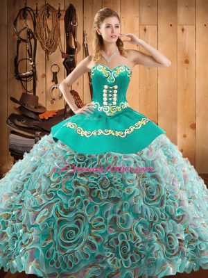 Multi-color Ball Gowns Embroidery Sweet 16 Quinceanera Dress Lace Up Satin and Fabric With Rolling Flowers Sleeveless Floor Length