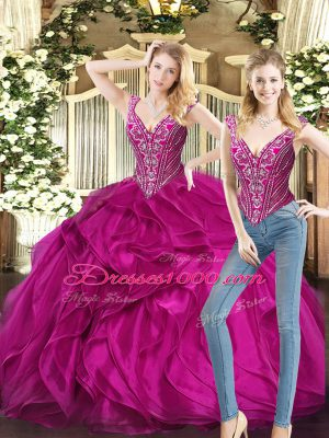Exquisite Ball Gowns Vestidos de Quinceanera Fuchsia V-neck Organza Sleeveless Floor Length Lace Up