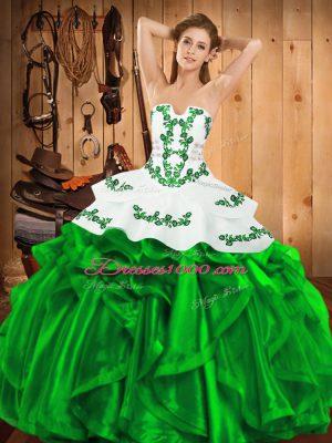 Smart Floor Length Ball Gowns Sleeveless Green Sweet 16 Dress Lace Up