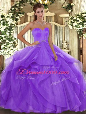 Cute Lavender Sleeveless Beading and Ruffles Floor Length Quince Ball Gowns