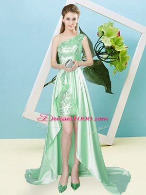 High Low Apple Green Prom Gown One Shoulder Sleeveless Lace Up