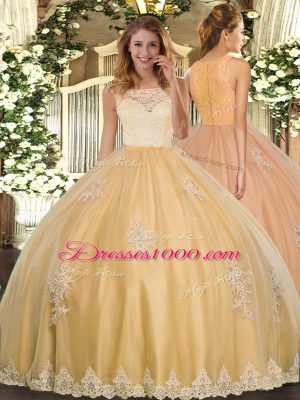 Fitting Gold Tulle Clasp Handle Scoop Sleeveless Floor Length Quince Ball Gowns Lace and Appliques