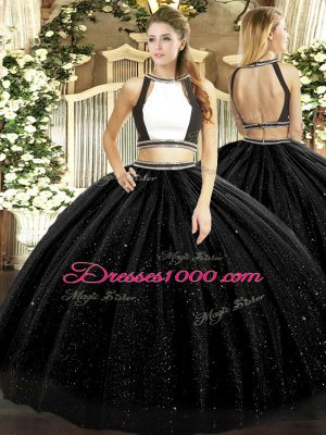 Chic Black Sleeveless Ruching Floor Length Quince Ball Gowns