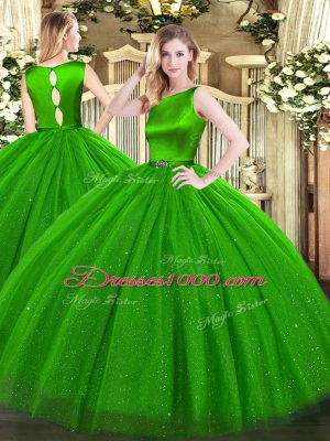 Exquisite Green Sleeveless Tulle Clasp Handle Sweet 16 Dress for Military Ball and Sweet 16 and Quinceanera