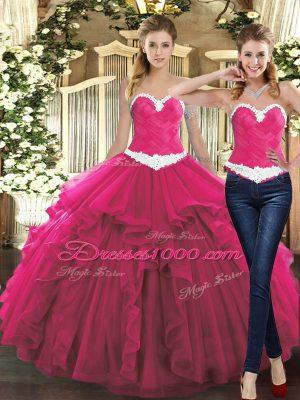 Sweetheart Sleeveless Tulle Sweet 16 Dresses Ruffles Lace Up