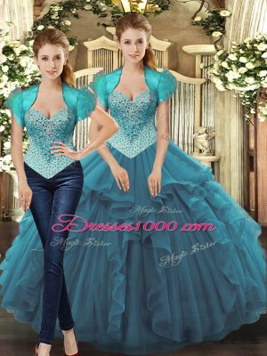 New Arrival Teal Sweet 16 Quinceanera Dress Sweet 16 and Quinceanera with Beading and Ruffles Straps Sleeveless Lace Up