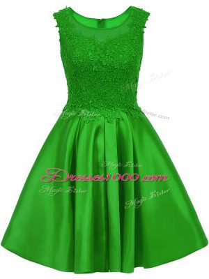 Chic Green Satin Zipper Wedding Guest Dresses Sleeveless Mini Length Lace