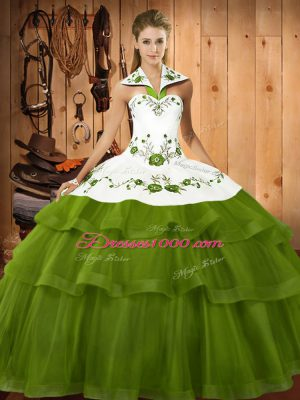 Fabulous Olive Green Sleeveless Sweep Train Embroidery and Ruffled Layers Quinceanera Dress