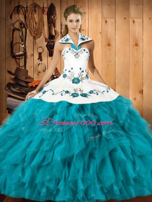 Halter Top Sleeveless Satin and Organza 15 Quinceanera Dress Embroidery and Ruffles Lace Up