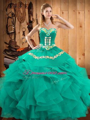 Pretty Turquoise Ball Gowns Satin and Organza Sweetheart Sleeveless Embroidery and Ruffles Floor Length Lace Up Sweet 16 Quinceanera Dress