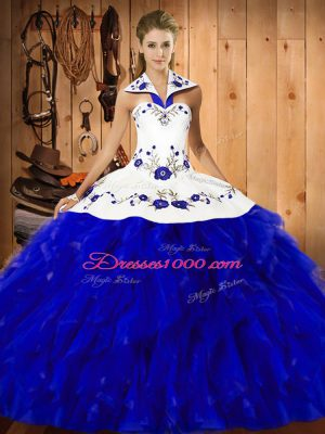 Fashion Floor Length Ball Gowns Sleeveless Blue And White Quinceanera Gowns Lace Up