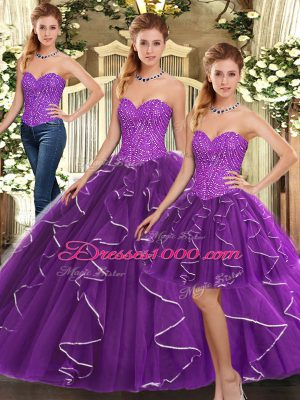 Popular Sleeveless Floor Length Beading and Ruffles Lace Up Quinceanera Dress with Eggplant Purple