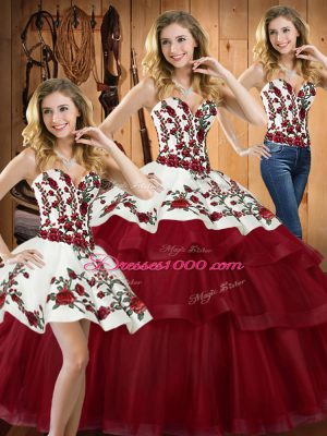Luxurious Sweetheart Sleeveless Sweep Train Lace Up 15 Quinceanera Dress Wine Red Organza