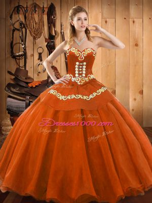 Cheap Floor Length Ball Gowns Sleeveless Rust Red Quinceanera Dresses Lace Up