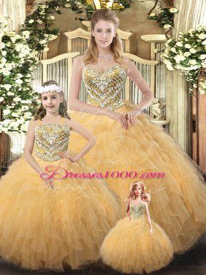 Floor Length Champagne Sweet 16 Dresses Organza Sleeveless Beading and Ruffles