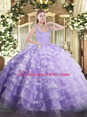 Lavender Ball Gowns Beading and Ruffled Layers Ball Gown Prom Dress Zipper Organza Sleeveless Floor Length