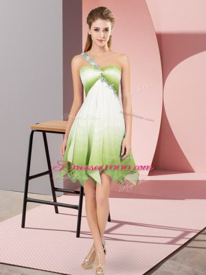 Delicate Multi-color Lace Up Prom Gown Beading Sleeveless Asymmetrical