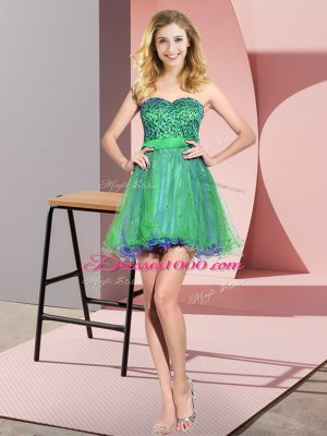 Multi-color Sleeveless Tulle Lace Up Quinceanera Court of Honor Dress for Prom and Party and Wedding Party