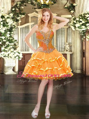 Sleeveless Lace Up Mini Length Beading and Ruffled Layers Party Dress for Girls