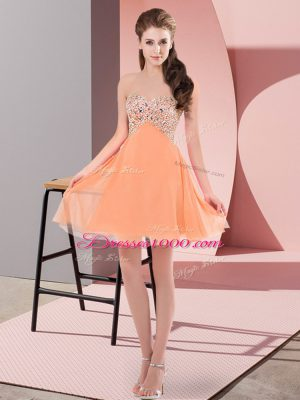Flirting Orange Red Party Dress for Girls Prom and Party with Beading Sweetheart Sleeveless Lace Up