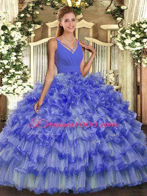 Ideal Floor Length Backless Quince Ball Gowns Lavender for Military Ball and Sweet 16 and Quinceanera with Ruffled Layers