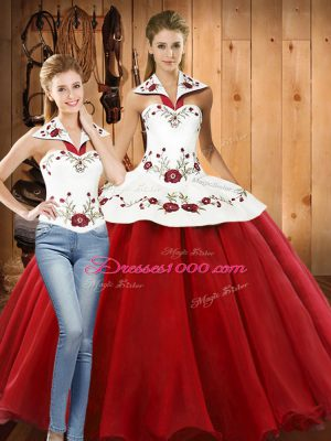 Latest Sleeveless Floor Length Embroidery Lace Up Sweet 16 Quinceanera Dress with White And Red