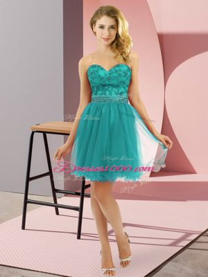 Cheap Turquoise Zipper Juniors Party Dress Beading Sleeveless Mini Length