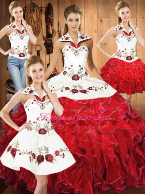 Excellent White And Red Satin and Organza Lace Up Halter Top Sleeveless Floor Length Ball Gown Prom Dress Embroidery and Ruffles