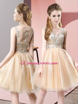 Comfortable Champagne Sleeveless Knee Length Beading Zipper Prom Evening Gown