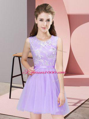 Glittering Lavender Tulle Side Zipper Scoop Sleeveless Mini Length Vestidos de Damas Lace