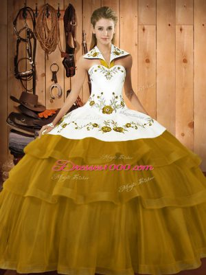 Olive Green Quince Ball Gowns Satin and Organza Brush Train Sleeveless Embroidery and Ruffled Layers