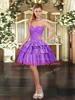 Discount Sweetheart Sleeveless Lace Up Teens Party Dress Eggplant Purple Organza