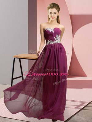 Colorful Dark Purple Empire Chiffon Sweetheart Sleeveless Appliques Floor Length Lace Up Prom Gown